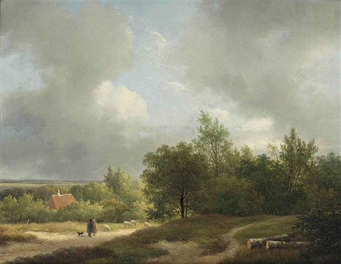 shepherds with their flock in a wooded landscape by andreas schelfhout