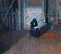 kvinne i blått interiør by bernhard d. folkestad