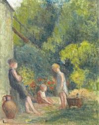 trois enfants dans un jardin by maximilien luce