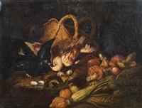 natura morta con funghi, cedri, sedani, uova, una cesta e due volatili by niccolino van houbraken