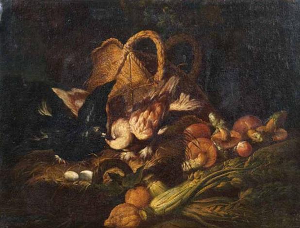 natura morta con funghi cedri sedani uova una cesta e due volatili by niccolino van houbraken