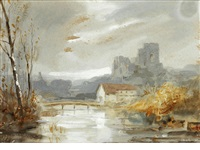 view of a river landscape with church or castle - possibly durham cathedral by hercules brabazon brabazon