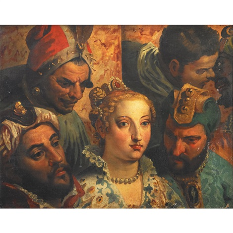 heads from the marriage at cana (after paolo veronese) by eugène delacroix