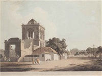 part of the palace, madura (+ view in the fort, madura; 2 works) by thomas daniell