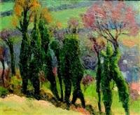 paysage aux arbres by marcel couchaux