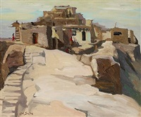 pueblo scene (acoma pueblo?) by john christopher smith