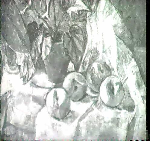 stilleben mit blumenstock und apfeln auf weissem tuch by irene holzer weineck