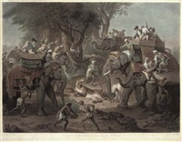 tiger hunting in the east indies (by r. earlom) by johann joseph zoffany