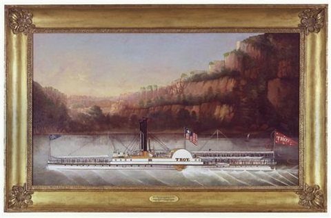 hudson river steamer city of troy of the troy and new york steam boat company by john and james bard