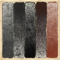 five strips; alternate pewter, black to copper by hisahi momose