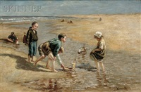 children playing on the beach by bernardus johannes blommers