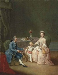 group portrait of a family, seated at a table, in an interior by pietro longhi