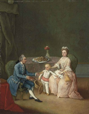 group portrait of a family seated at a table in an interior by pietro longhi