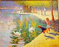 enfants au bord du lac by claude fossoux