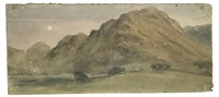 borrowdale by moonlight (+ the bridge at watendlath, verso) by john constable