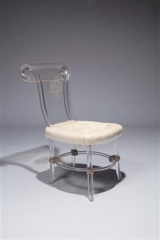 lucite and upholstered side chair by ladislas medgyes