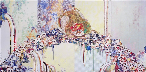 a picture of the blessed lion who stares at death by takashi murakami