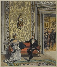 couple conversing on couch outside formal gathering by leslie saalburg