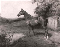 a chestnut hunter in a landscape by j. percy earl