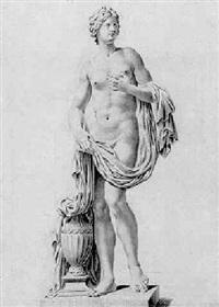 stehende nymphe mit einem tuch und einer henkelvase auf einem sockel by christian sambach