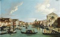 venise, vue du grand canal entre le palais bembo et le palais vendramin galergi by canaletto