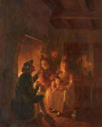 company by the fire by jan hendrik van grootvelt
