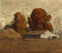 early in the morning, barn and haystack in autumn by william forsyth