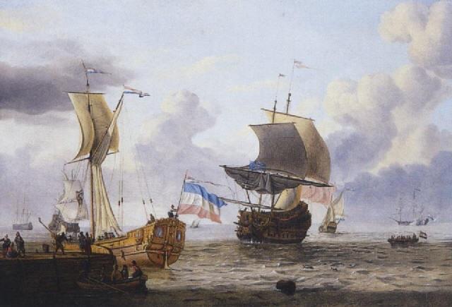 navires de haut bord au mouillage près d'un ponton duquel s'approche une barque chargée de villageois by adam silo
