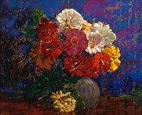 zinnias by augustus william enness