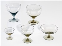 chartreuse and granite gray stemware (38 pieces) by russel wright