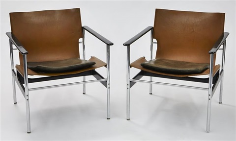 657 leather sling chairs pair by charles pollock
