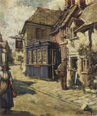 the blue shop' corfe castle by francis henry newbery