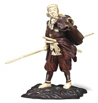 one of the fourty-seven ronin with a pipe and holding a long spear by tsuneaki