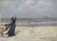 jeune femme au chien à la plage by karel boom
