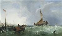 Fishing in choppy seas at Folkestone, a pair , 1856