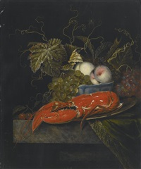 still life with grapes, peaches and a lobster, all on a marble ledge by ottmar elliger the elder