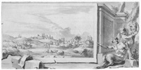 view of a town, within classical composition by jan goeree