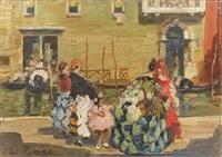 venedig, campo s. s. gio e paolo (+ konversation entlang eines venezianischen kanals; 2 works) by erma zago