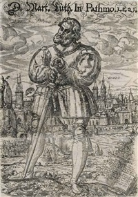 martin luther as junker jörg (+ taurus (after jost amman), smllr; 2 works) by heinrich göding the elder