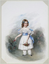 portrait of lady sophia deacon aged seven, full-length in a garden carrying a basket by edwin dalton smith