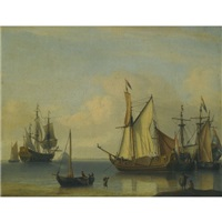 dutch vessels anchored close to the shore in a calm by aernout (johann arnold) smit