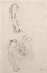 buste d'homme vêtu d'une peau de lion, reprise de son bras gauche by eugène delacroix