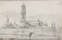 view of the city walls of utrecht, with, from left to right, the geertekerk, the cathedral, and the paulusabdij by jan josefsz van goyen