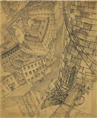 street view from a roof by kuz'ma sergeevich petrov-vodkin