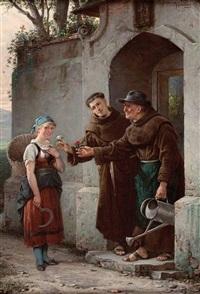 eine begegnung an der klosterpforte der franziskaner by adolf humborg