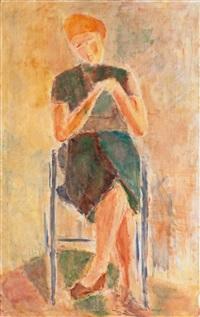 woman knitting by rafael wardi