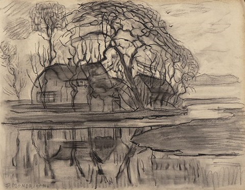 farm near the village of duivendrecht from sketchbook by piet mondrian