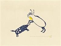 dog and caribou fighting by luke iksiktaaryuk