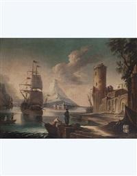 paesaggio con nave, figure e torre d'avvistamento by pietro antoniani