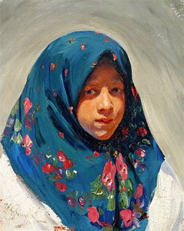 portrait of a young russian woman with a flowered headscarf by ivan semionovich kulikov